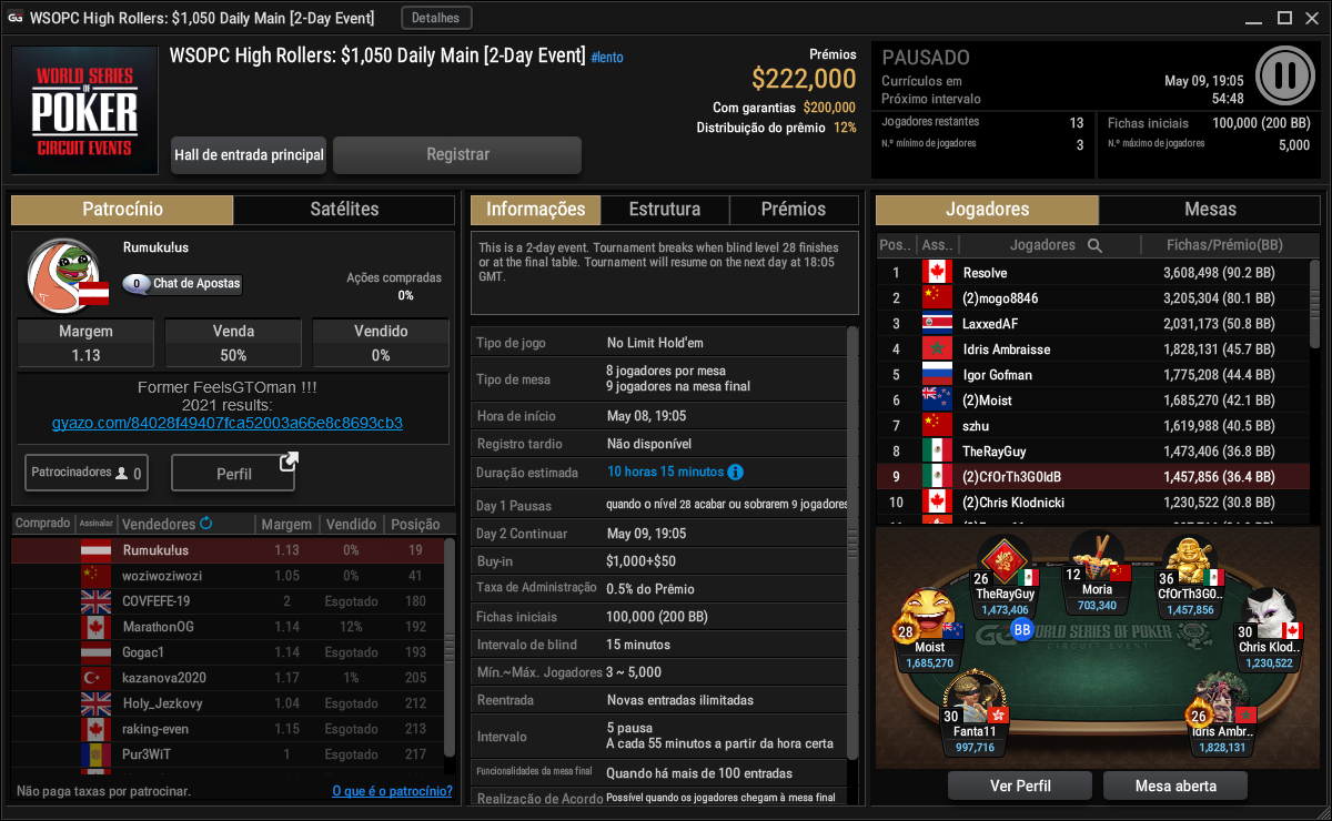 WSOPC High Rollers $1050 Daily Main
