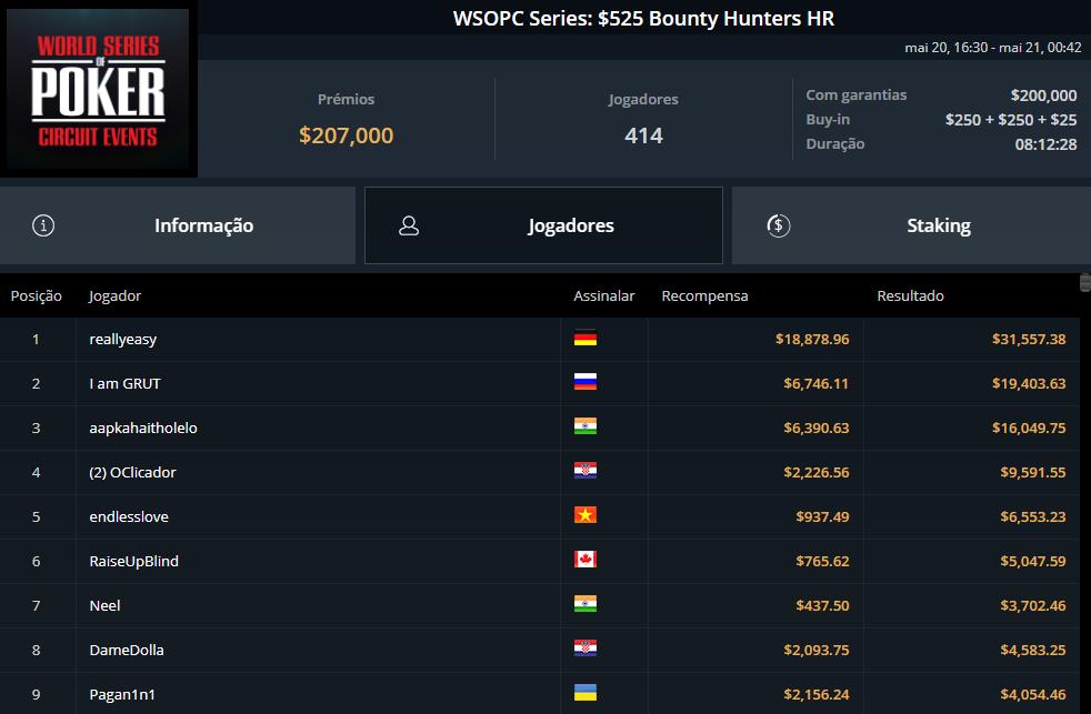 WSOPC Series $525 Bounty Hunters HR