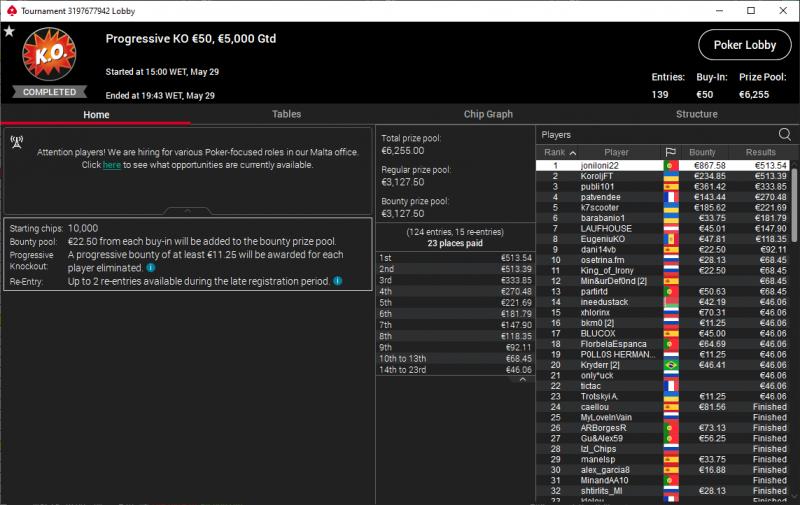 joniloni22 PokerStars