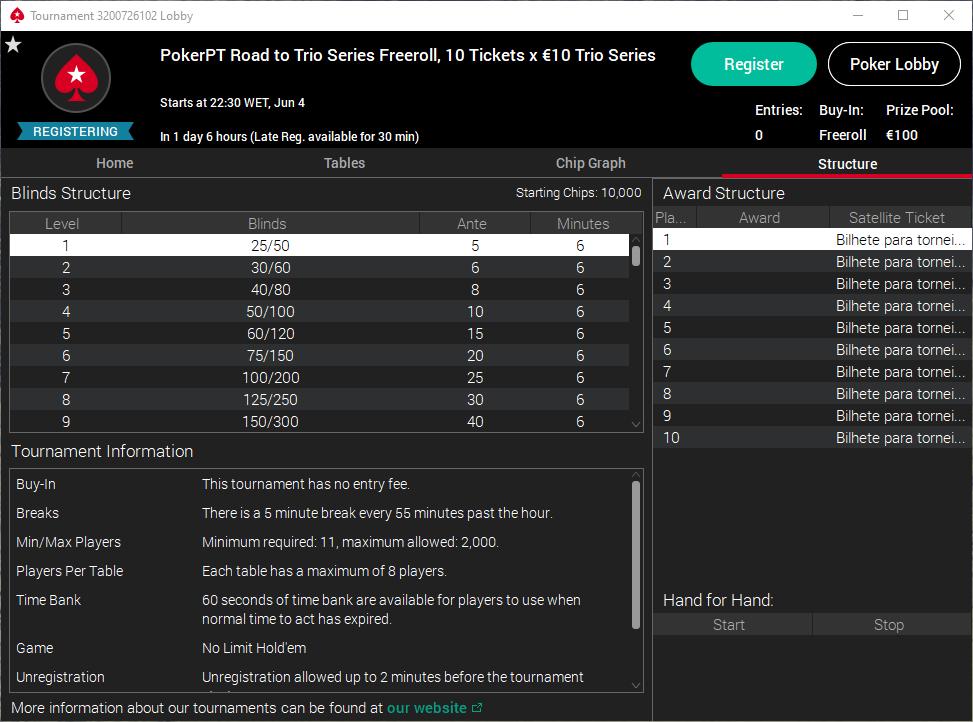 PokerPT Road to TRIO Series Freeroll #3