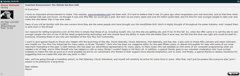 Anuncio de venda do fórum de poker 2+2