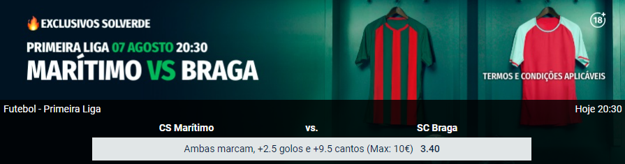 Exclusivos Solverde - Maritimo - Braga
