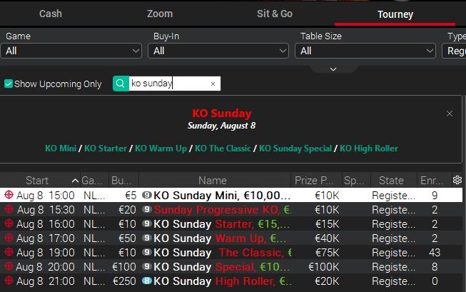 KO Sunday - PokerStars