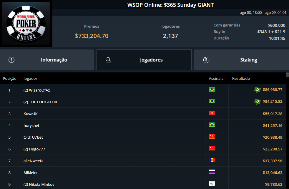 WSOP Online $365 Sunday Giant