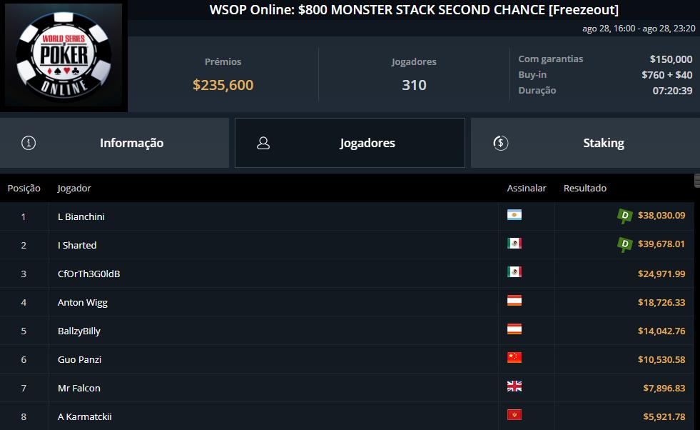 WSOP Online $800 Monster Stack Second Chance