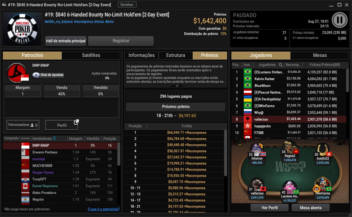 evento #19 $840 6-Handed Bounty