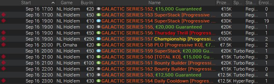 Calendário Galactic Series 16 de Setembro