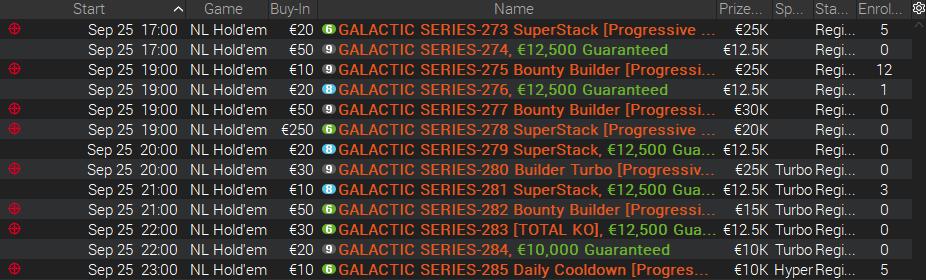 Calendário Galactic Series 25 Setembro