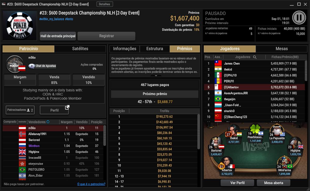 Evento #23 $600 Deepstack Championship