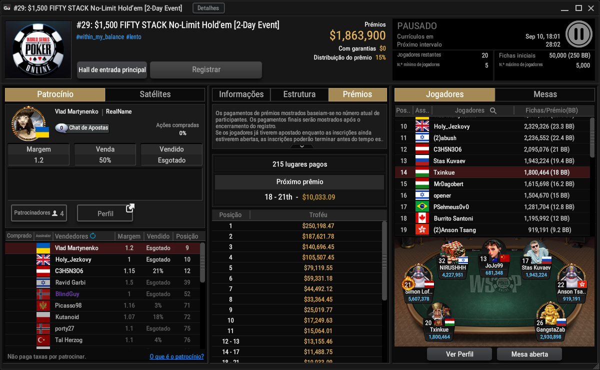 Evento #29 $1500 Fifity Stack