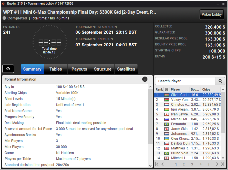 WPT #11 Mini 6-Max Championship