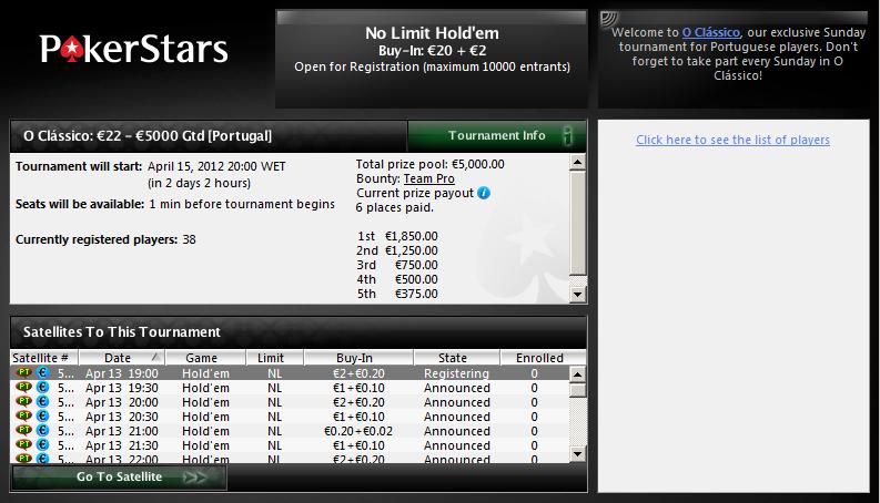 O Clássico - PokerStars - Lobby 15 de Abril 2012