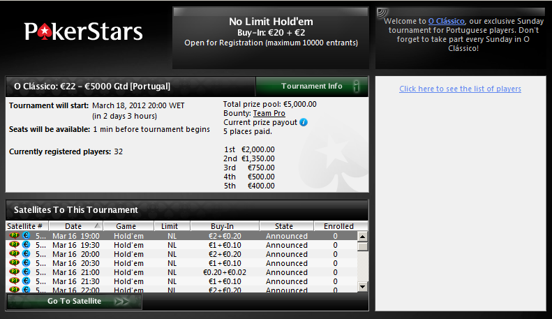 O Clássico - PokerStars - Lobby 18 de Março 2012
