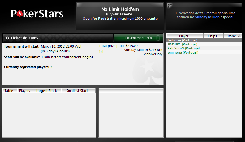 PokerStars - O Ticket do Zumy